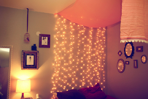 bedroom, cute, lights, lovely, mirrors, orange, photography, pretty