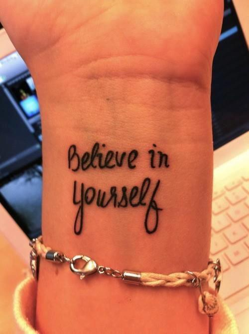 believe in yourself tattoo wrist image 663559 on. Black Bedroom Furniture Sets. Home Design Ideas