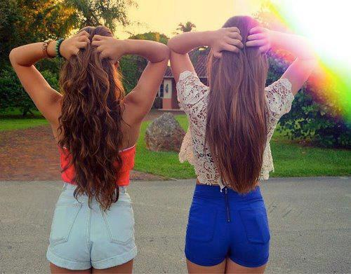 bff, curly, cute, fashion, friends, girls, hair, pretty, shorts, straight, style, summer, waves
