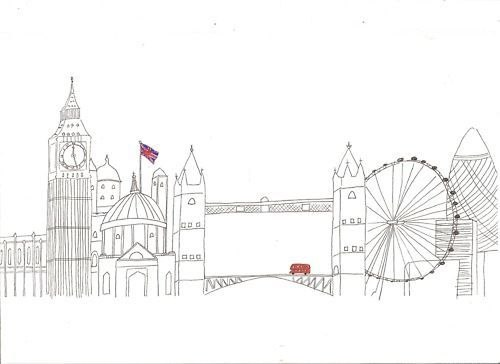 big ben, illustration, london, london eye, sights, tower bridge