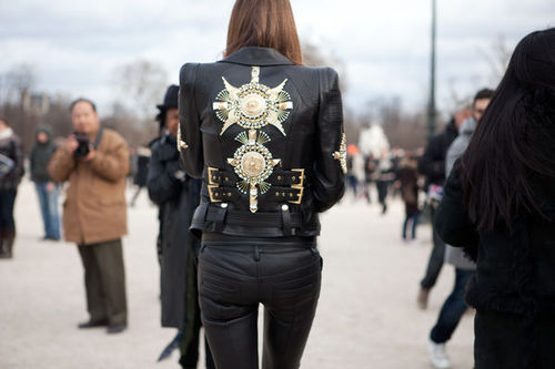 biker, black, fashion, fashion week, jacket, leather, leather jacket, model, paris, street, street style, style