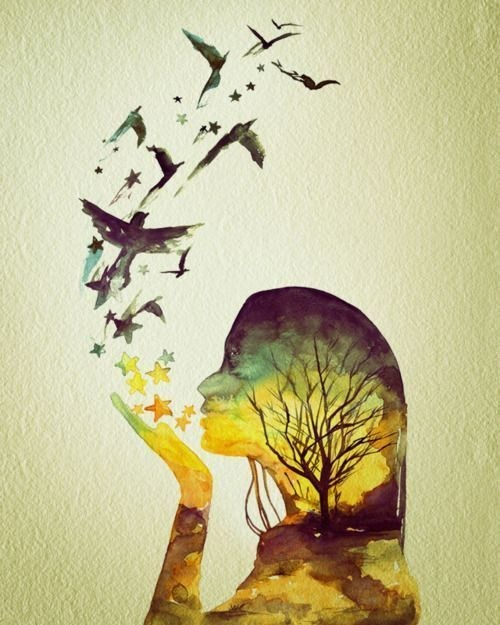 birds, drawing, girl, pastel, photo manipulation, picture, tree