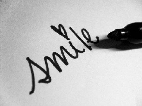 black and white, heart, quote, smile