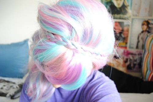black, bloond, blue and colored hair