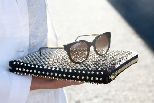 black, fashion, girly, purse, studs, style, sunglasses