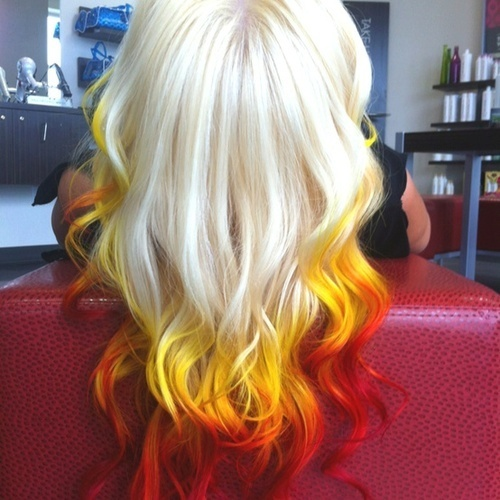 blonde hair dip dye hair red and yellow image 649334