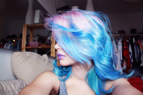 Pastel blue and pink hair