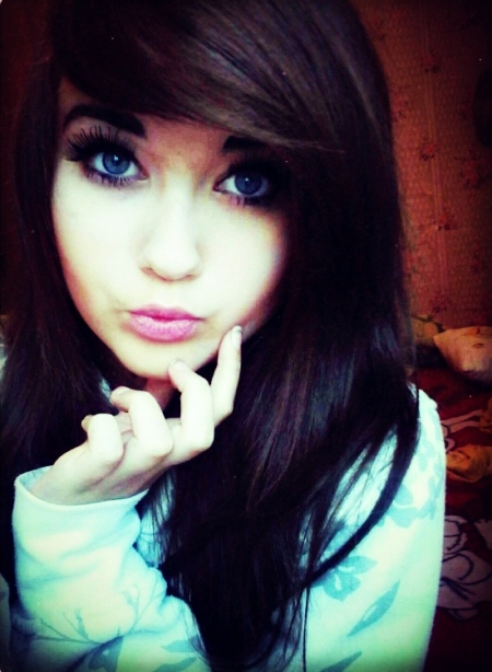 blue eye, brown hair, eyes, fake eyelashes