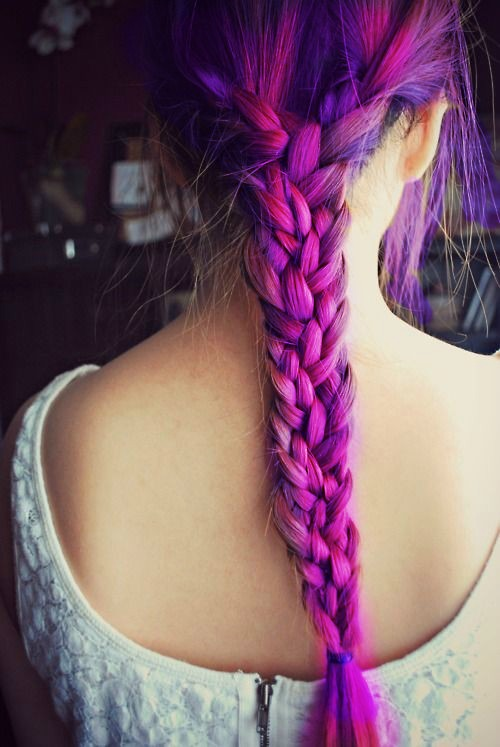 braid, girl, hair, purple