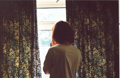 brown hair, crying, curtains and girl
