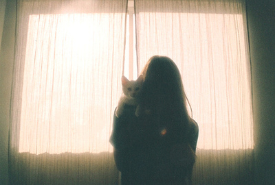 brunette, cat, cuddle, cuddling, dark hair, girl, hair, hipster, indie, kitten, lights, long hair, love, sun, vintage, window