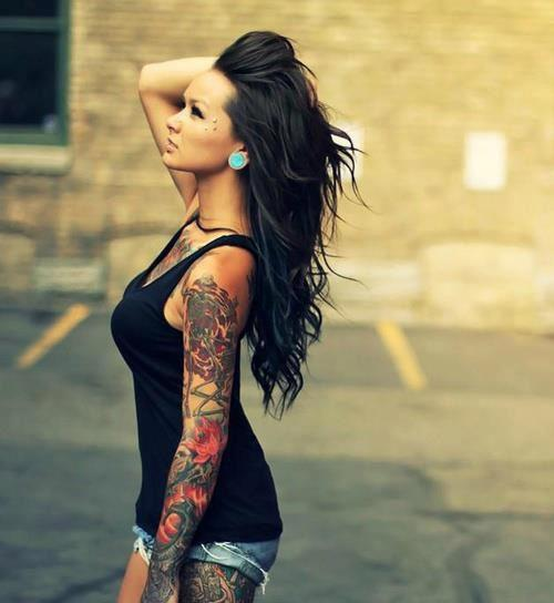 brunette, girl, tattoo