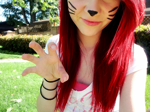 cat, cute, funny face, girl, hair, hair color, nails, shirt