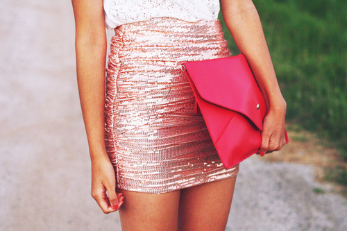 clutch, fashion, girl, outfit, pink, skirt