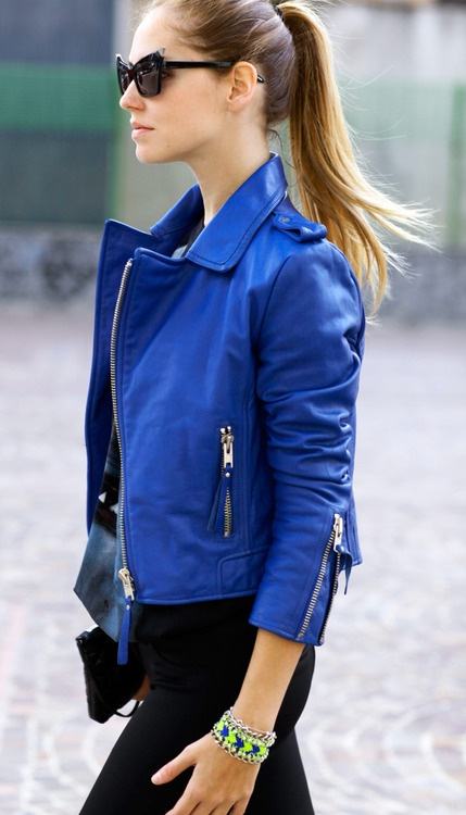 Womens Blue Biker Leather Jacket: Montreal :: WOMEN :: Caine
