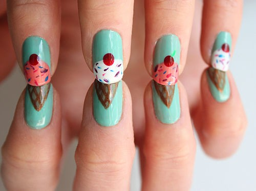 cute, ice cream, nails