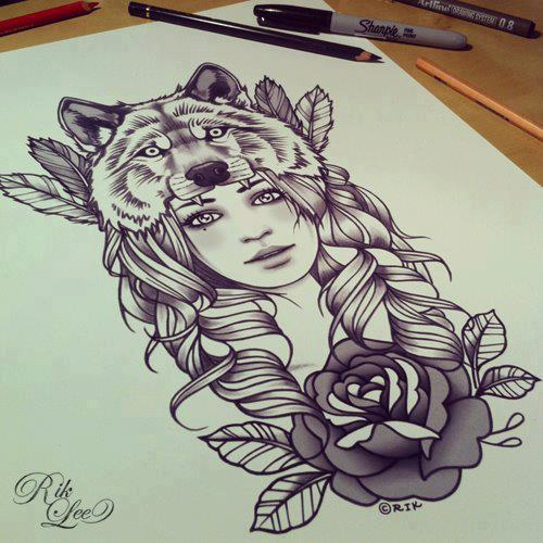 Draw, drawing, girl, wolf, wow