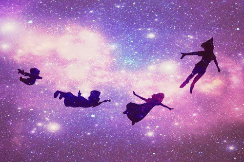 cartoon, disney, dream, dreamy, fly, galaxy, peter pan, pretty, purple, shiluouette, sky, vintage, wendy