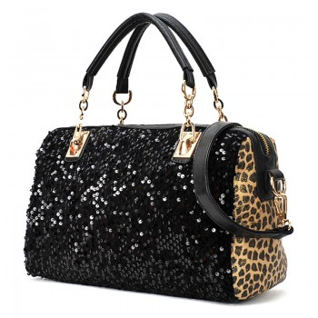 Black Barrel Studded Fashion Handbag Long Strap - KCMODE