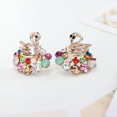 14k gold plated stud earring, 14k gold plated swan earring, beautiful and crystal stud earring