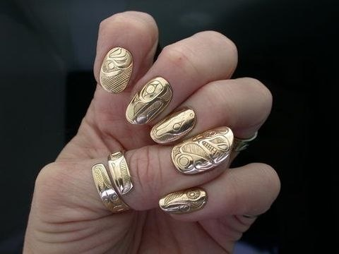 fashion, gold, nails