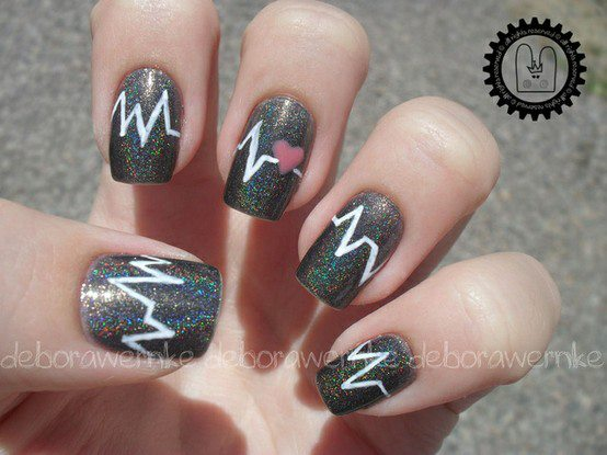 fashion, heart, nails