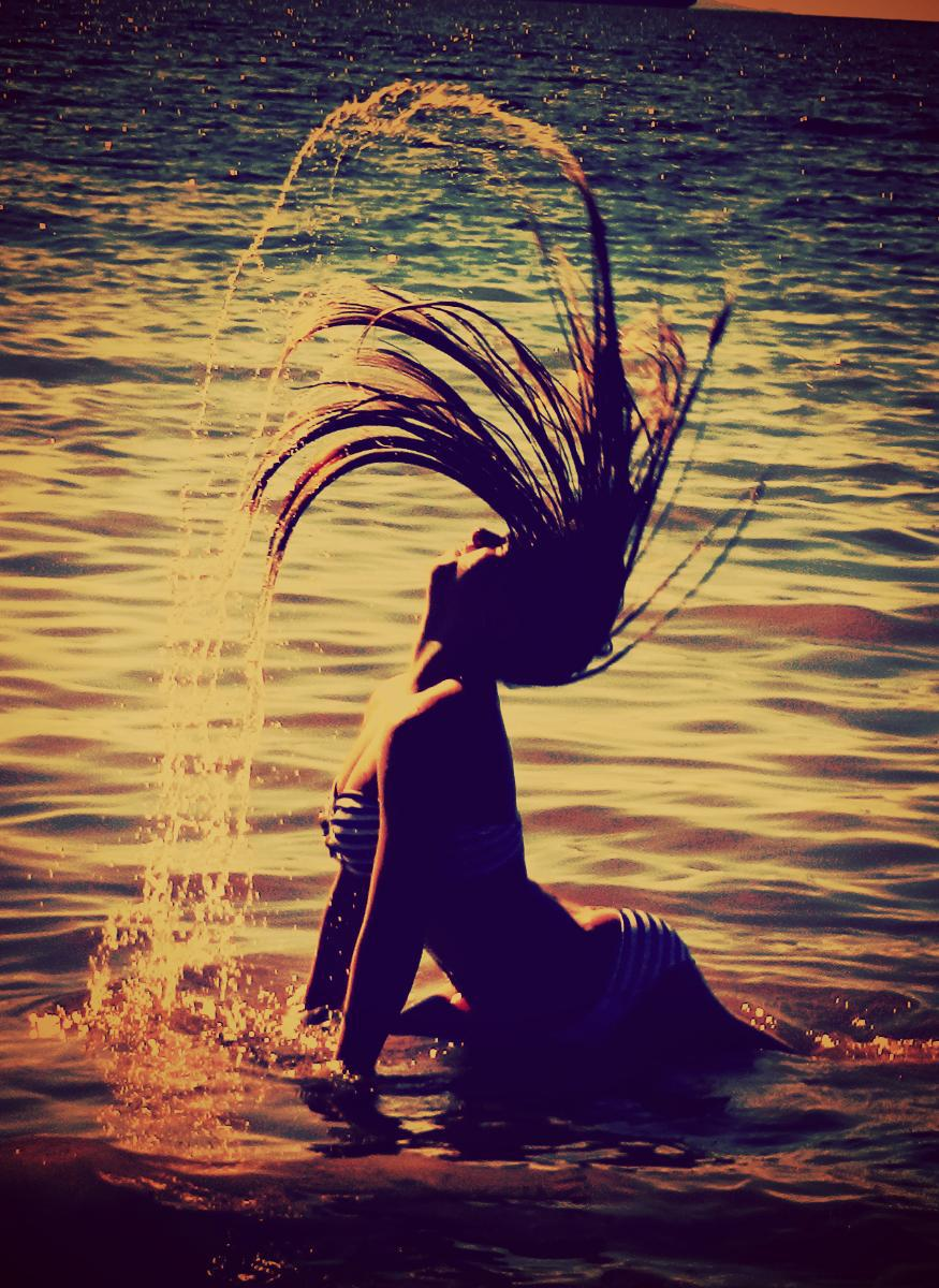 girl, hair, sea, summer