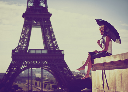 Girl Paris Umbrella Vintage Summer Image 623577 On
