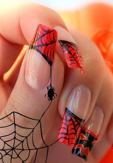 art, beauty, halloween, nails, red, spider, web