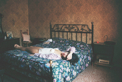 alternative, analog, bed, brunette, girl, grunge, hottie, indie, legs, photography, pijama, room, sexy, style, vintage, wall