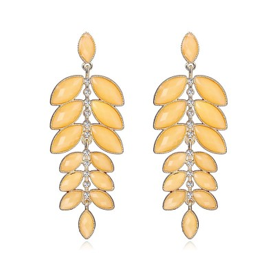 cluster leaves earrings, dangle leaf earrings, dangling leaf earrings and gold leaves earrings