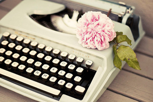keyboard, letter, pink, rose, vintage, white