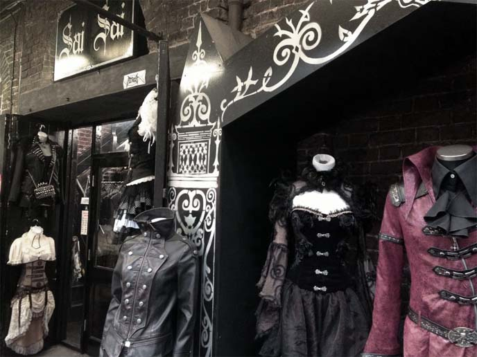 camden market, cyber clothing store, cyberdog and goth dresses london
