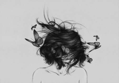 <3, amazing, art, black and white, butterfly, draw, girl, hair, hair style, illustration, onna