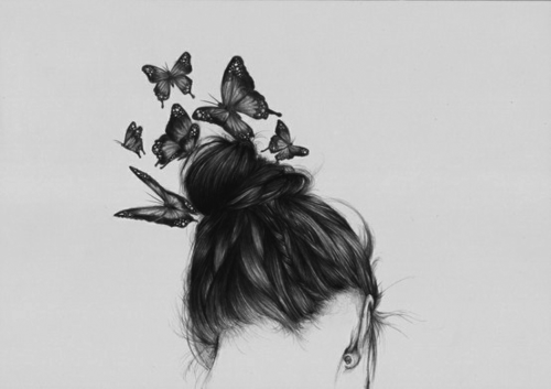 <3, amazing, art, black and white, butterfly, draw, fashion, girl, hair, hair style, illustration, insect, perfect