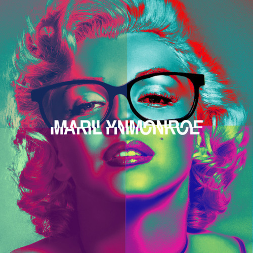beautiful, blond, blond curls, blue, colors, coloures, curls, curly hair, girl, glasses, hipster frames, inspiration, marilyn monroe, marlyn manroe, new 'vintage', photo, photography, picture, pop culture, pretty, purple, random, red, red lips