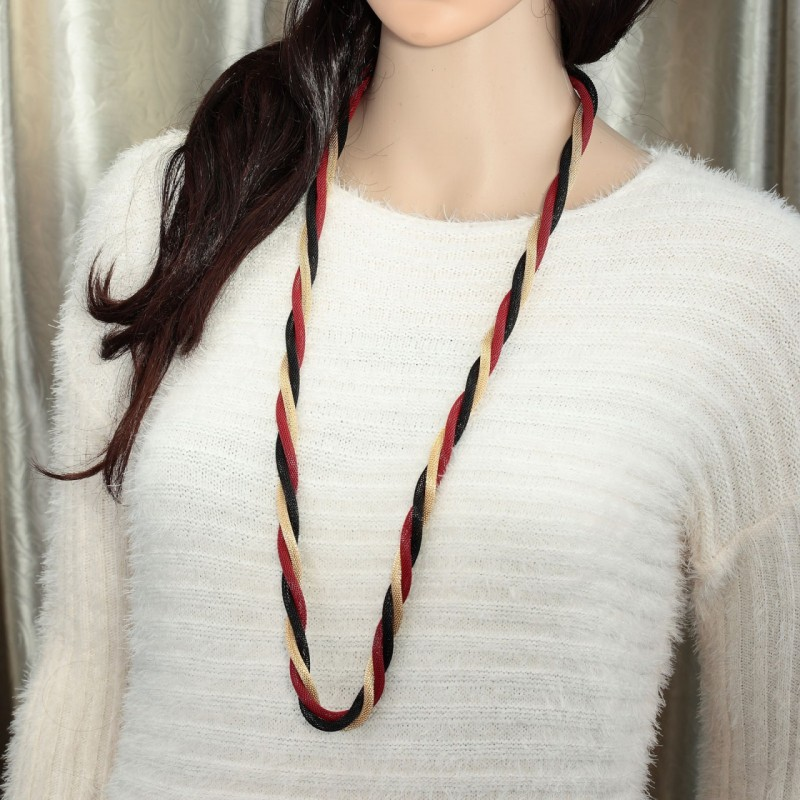 metal mesh necklace, multi strand mesh necklace, multicolor mesh necklace and spiral rope necklace