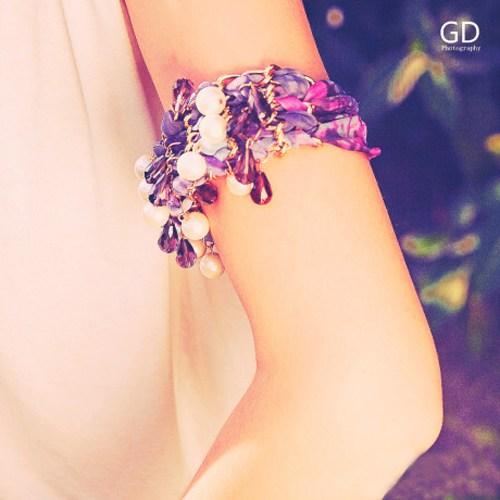 pearl crystal chian wave chiffon bracelet, beautiful