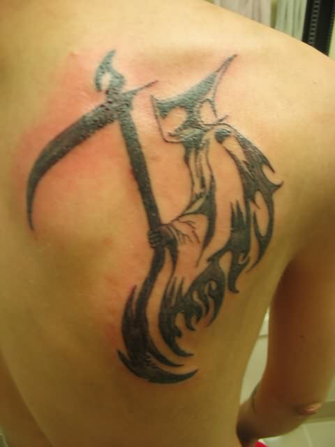 back, boy, grin, guy, reaper, shoulder, tattoo