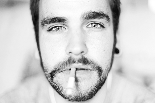 beard, black and white, boy and cigarette