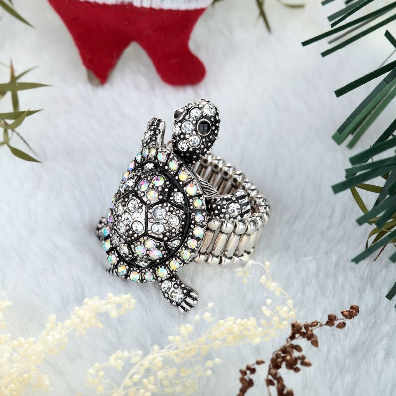 ab turtle stretch ring, antique turtle stretch ring, crystal turtle ring and rhinestone turtle ring