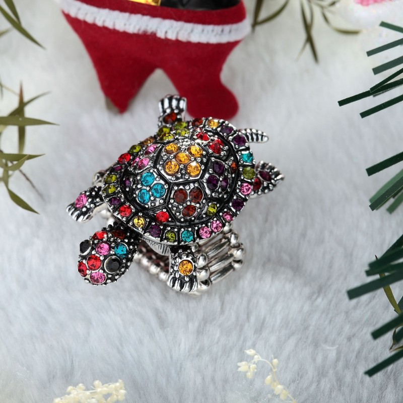 antique turtle stretch ring, crystal turtle ring, multicolor turtle stretch ring and rhinestone turtle ring