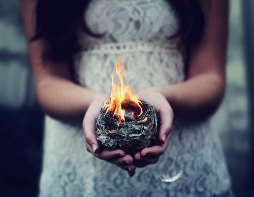 aesthetic, bird, birdnest, burn, burning, concept, conceptual, delicate, feather, feathers, fire, girl, hair, hands, holding, inspiration, inspirational, lace, mockingjay, nest, photography, safe and sound, symbolism, the hunger games, white lace