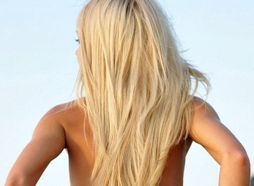 Beach Blonde Girl Hair Model Tan