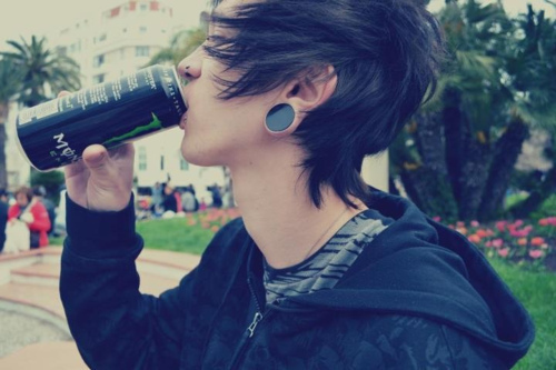 Boys with gauges boys wtih black hair emo monster drink