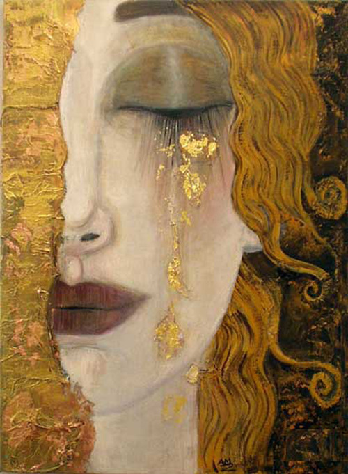 abstract, art, cry, crying, gold, golden, modern, portrait, red, tears