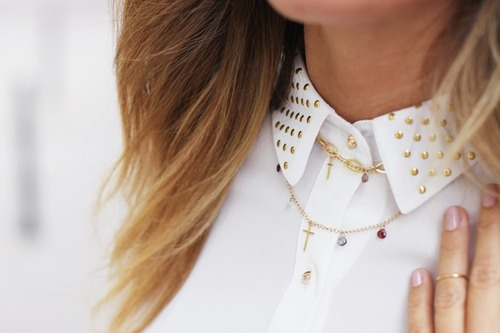 accessories, blonde, collar, cross, girly, girly things, gold, golden, justgirlythings, necklace, shirt, studs, white, white shirt