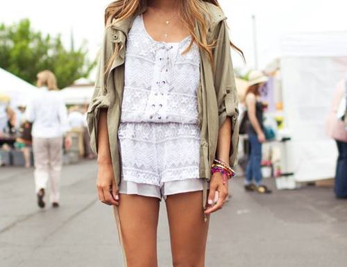 adorabke, blonde, bracelets, fashion, girl, jumpsuit, shorts, summer, white