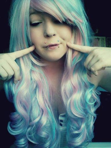 alternative, blue, cute, girl, hair, piercing, pink