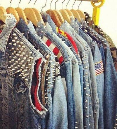 american, closet, clothes, girly, girly things, jacket, jeans, jeans jacket, justgirlythings, spike, spiky, studs, usa